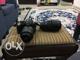 Nikon D3100 with 2 lens 18-55 and 70-300mm worth 240kd together