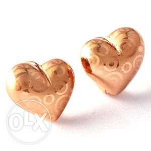Rose Gold Filled Heart Design Hoop Earrings