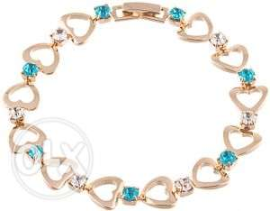Rose Gold Filled Hearts Link Clear Lake Blue CZ Bracelet