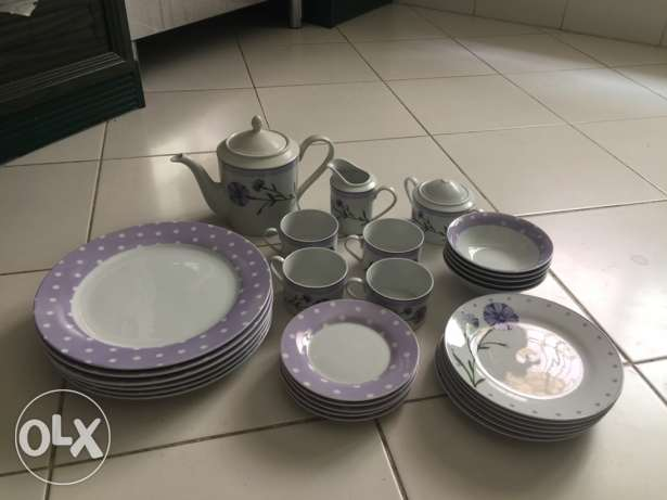 Polka purple tea set.